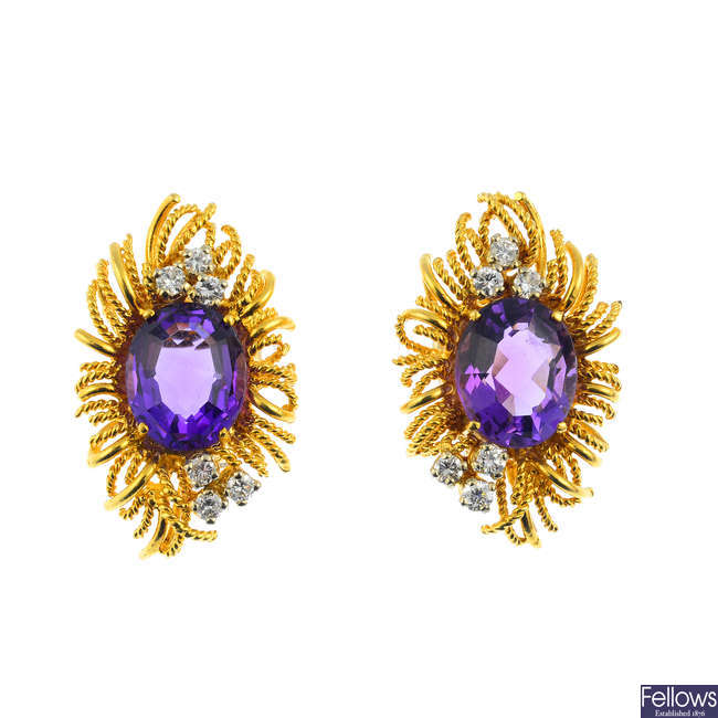 A pair of 1970s 18ct gold amethyst and diamond earrings.