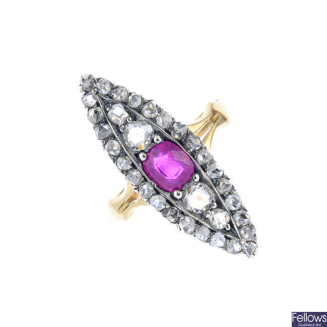 A late Victorian silver and 14ct gold ruby and diamond dress ring.