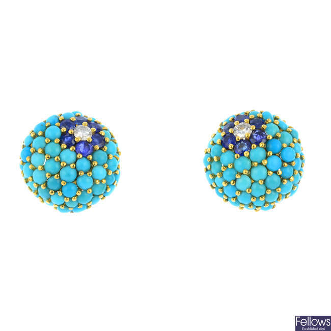KUTCHINSKY - a pair of 1960s 18ct gold diamond, turquoise and sapphire earrings.