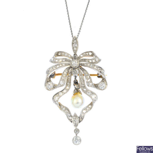 A late Victorian silver and gold pearl and diamond pendant, with chain.
