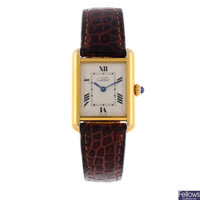 CARTIER - a gold plated silver Must De Cartier Tank wrist watch.