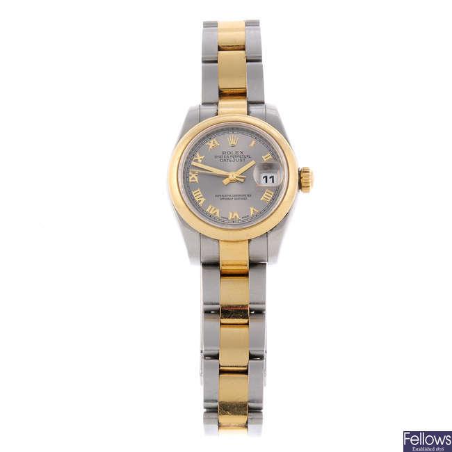 LONGINES - a lady's gold plated Presence bracelet watch.