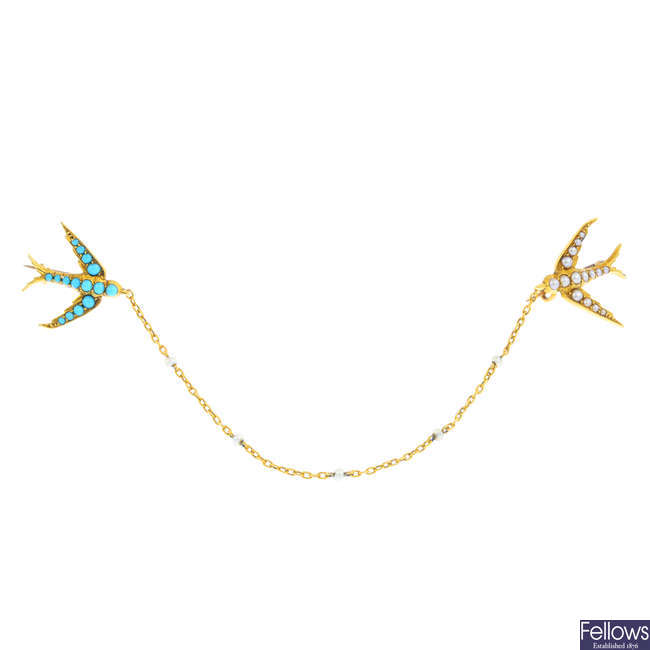 An early 20th century split pearl and turquoise swallows brooch.