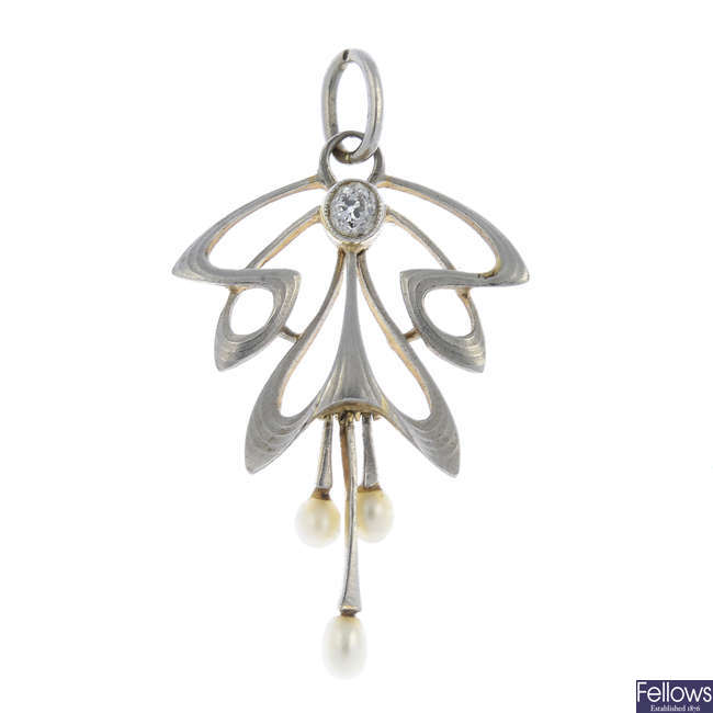 An Art Nouveau 15ct gold and platinum seed pearl and diamond pendant.