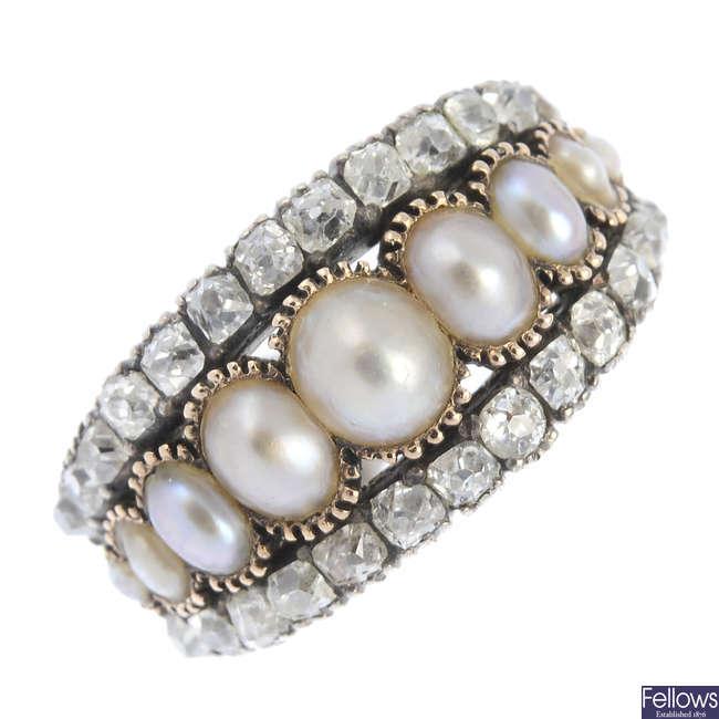 A late Georgian gold split pearl and diamond ring.