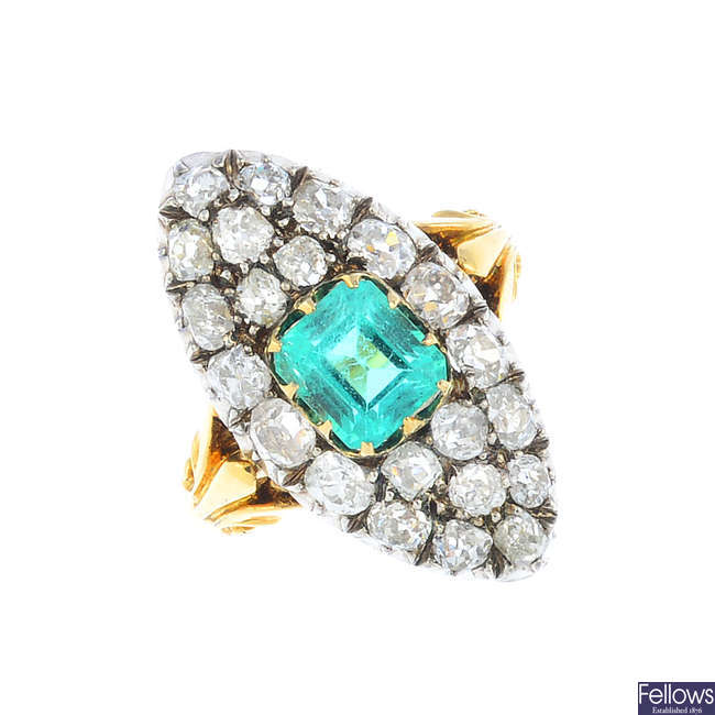 A late Victorian Colombian emerald and diamond dress ring.