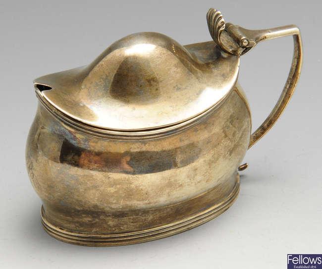 A George III silver mustard pot by Peter, Ann & William Bateman.
