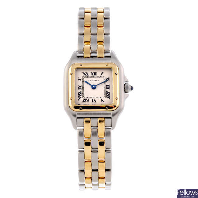 CARTIER - a bi-metal Panthere bracelet watch.