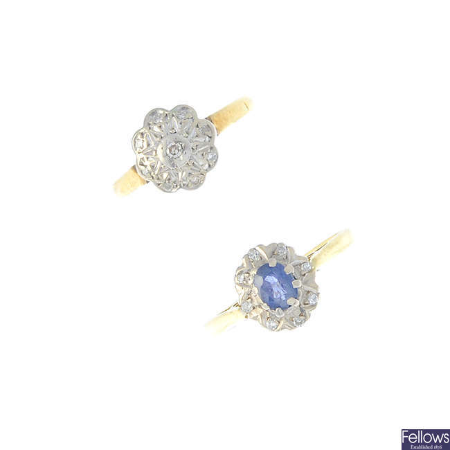Two mid 20th century 18ct gold diamond and sapphire cluster rings.