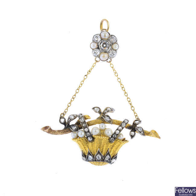 An early 20th century diamond and pearl floral pendant brooch.