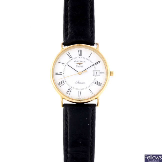 LONGINES - a gentleman's gold plated Presence wrist watch.