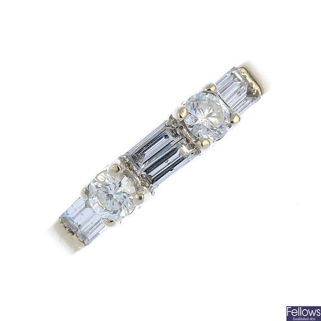 A diamond half eternity ring.