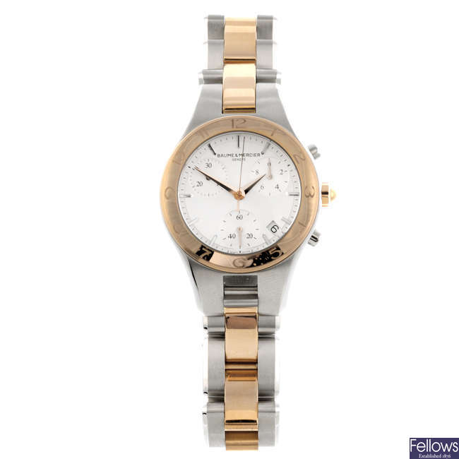 BAUME & MERCIER - a lady's bi-metal Linea chronograph bracelet watch.