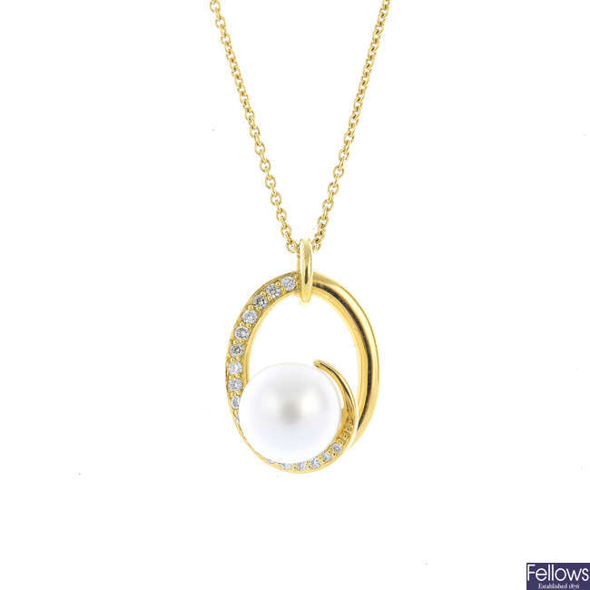 An 18ct gold cultured pearl and diamond pendant, on chain.