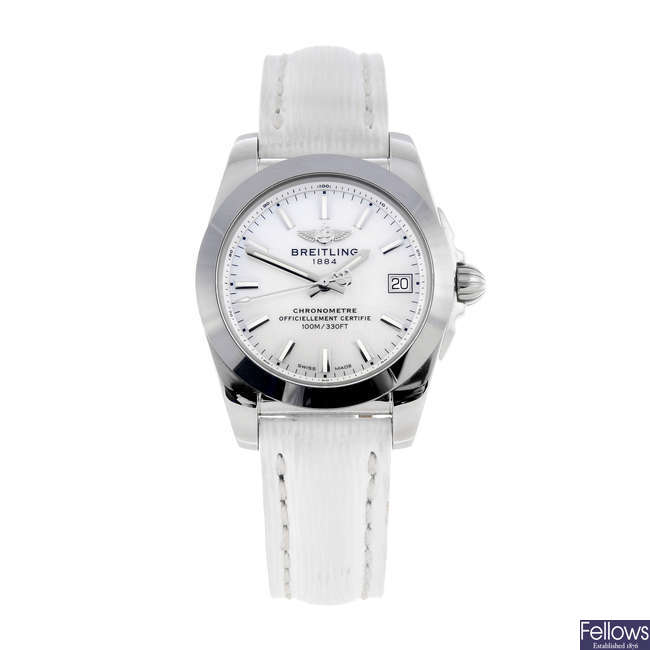 BREITLING - a lady's stainless steel Galactic 36 wrist watch.