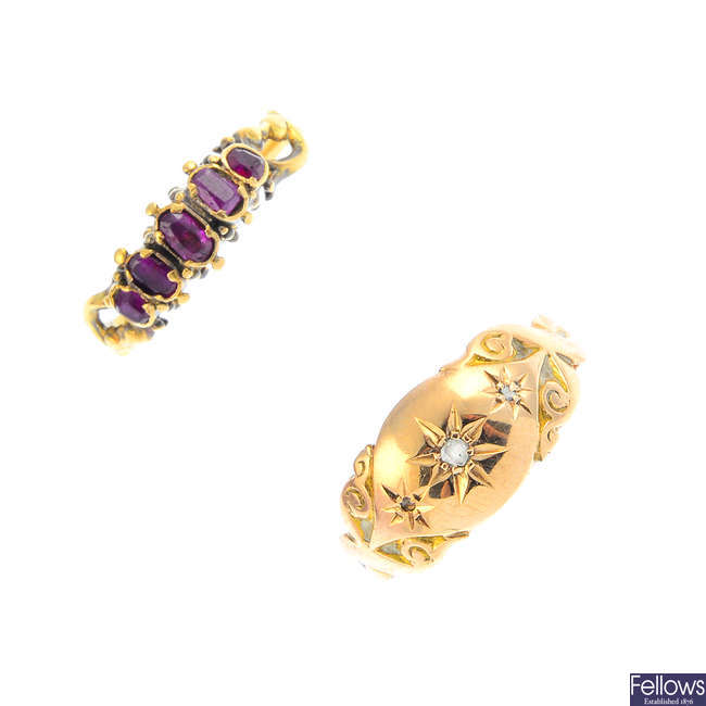 Four early 20th century gold gem-set rings.
