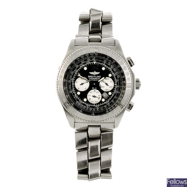 BREITLING - a gentleman's stainless steel B-2 chronograph bracelet watch.