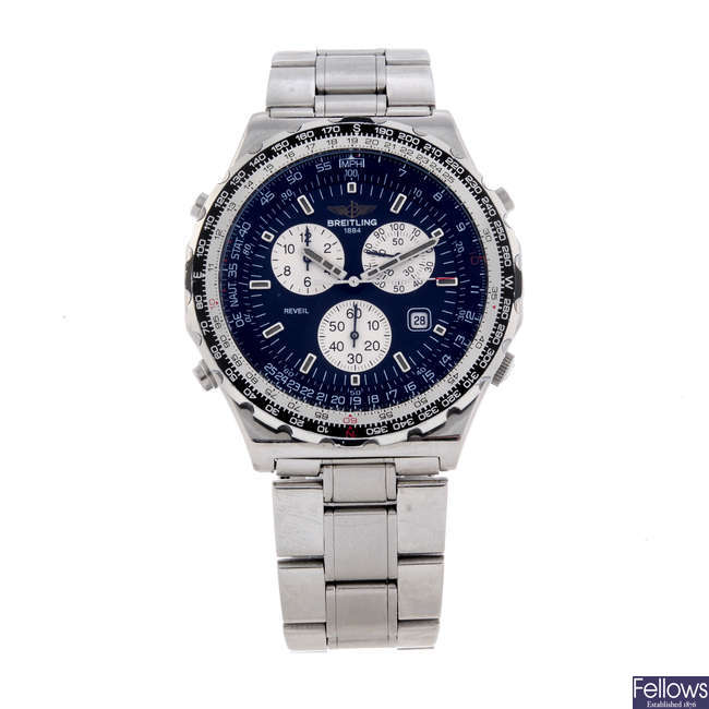 BREITLING - a gentleman's stainless steel Navitimer Jupiter Pilot chronograph bracelet watch.