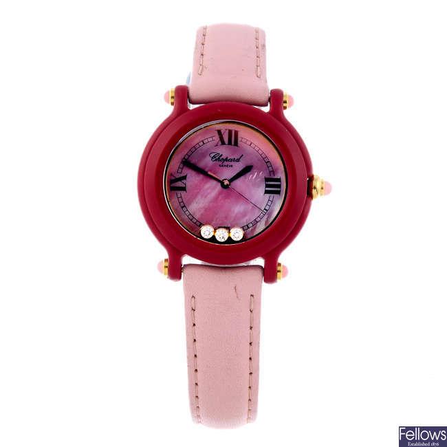 CHOPARD - a lady's bi-material Be Happy wrist watch.