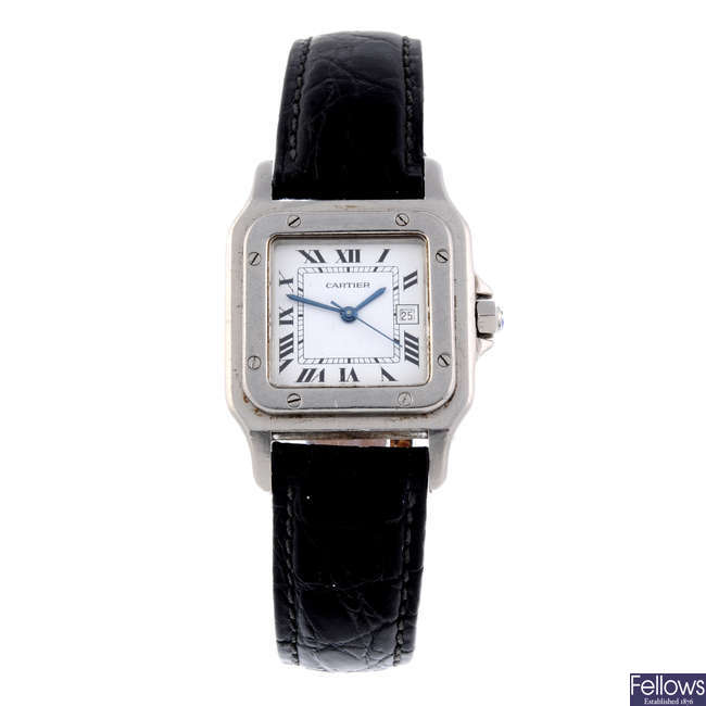 CARTIER - a stainless steel Santos wrist watch.