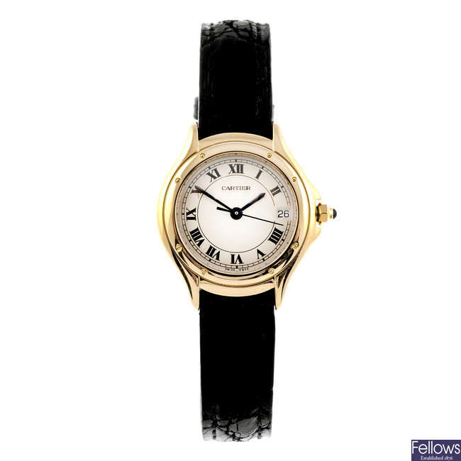 CARTIER - a yellow metal Cougar wrist watch.