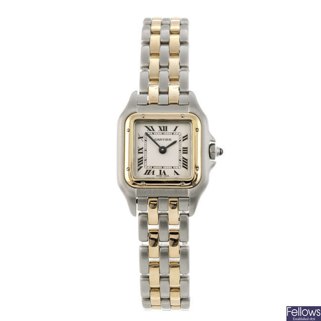 CARTIER - a bi-Panthere bracelet watch.