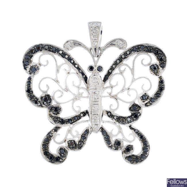 A set of diamond and gem-set butterfly jewellery.
