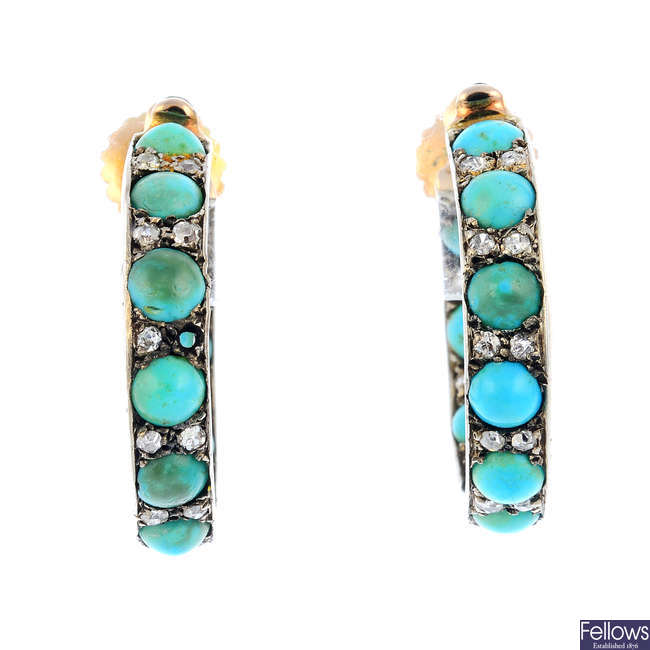 A pair of mid 20th century turquoise and diamond earrings.