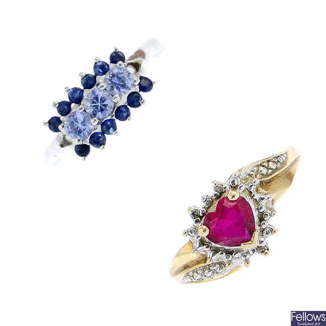 Six gem-set rings.