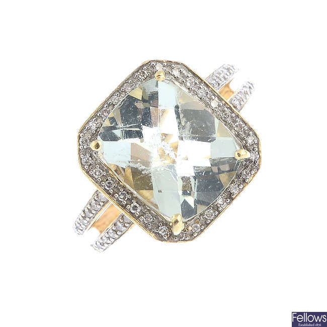 A prasiolite and diamond dress ring.