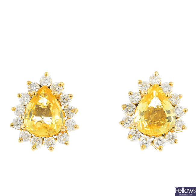 A pair of 14ct gold sapphire and diamond earrings.