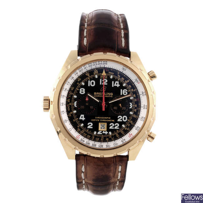 BREITLING - a limited edition gentleman's 18ct yellow gold Chronomatic chronograph wrist watch.