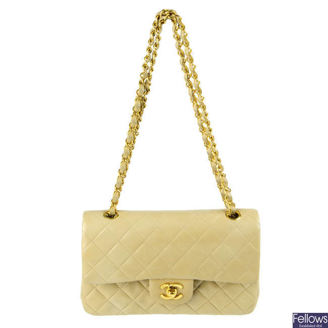 CHANEL - a vintage beige Medium Classic Double Flap handbag.