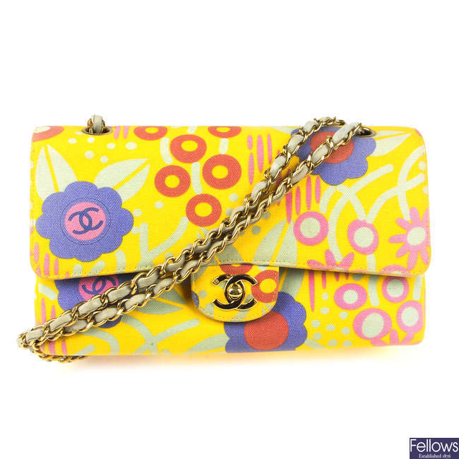 CHANEL - a yellow canvas Floral Classic Double Flap handbag.