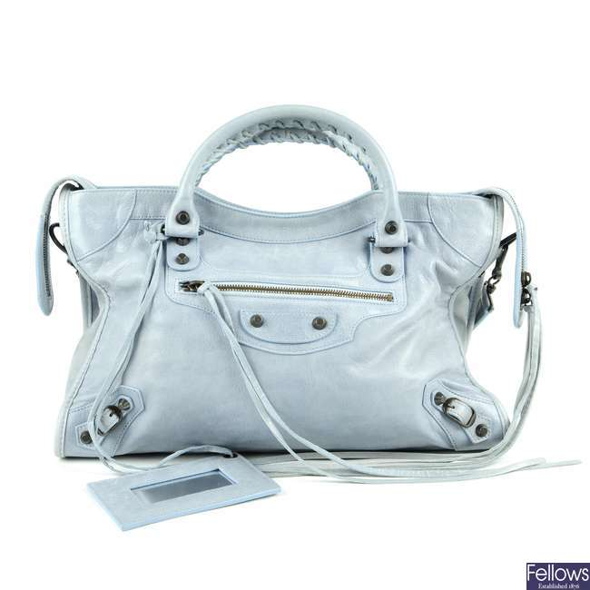 BALENCIAGA - a light blue Classic City handbag.