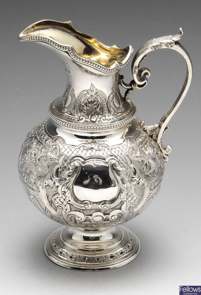 A mid-Victorian silver jug.
