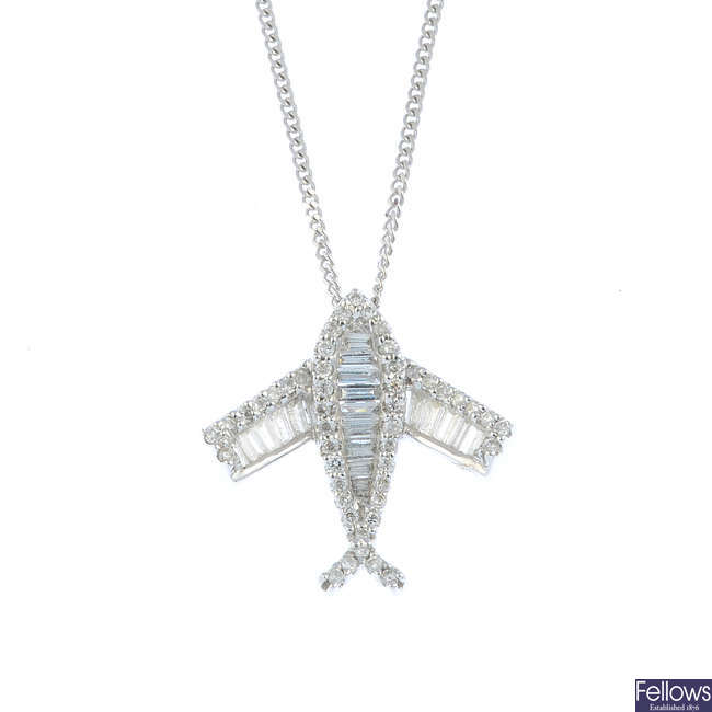 An 18ct gold diamond aeroplane pendant, with 18ct gold chain.