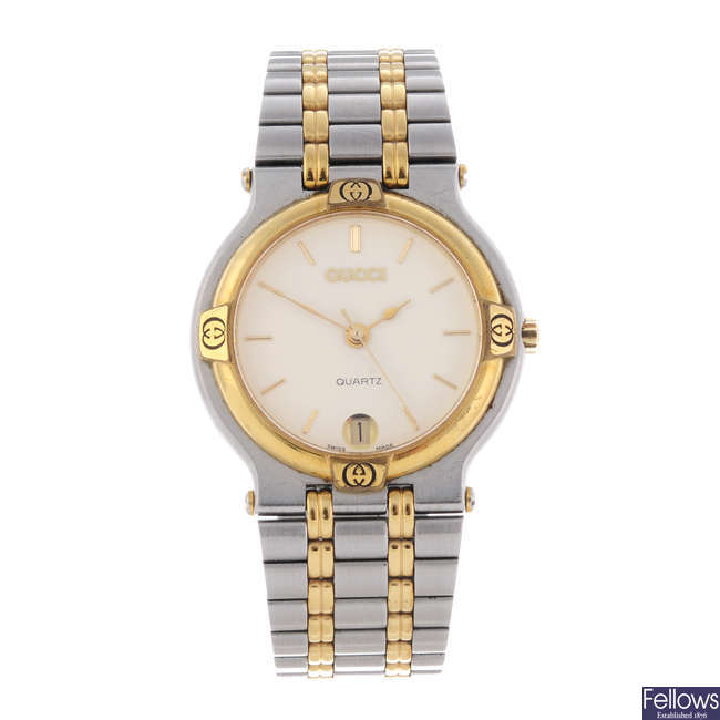 GUCCI - a gentleman's bi-colour 9000M bracelet watch.