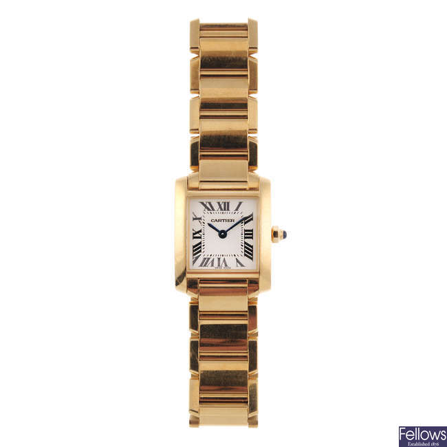 CARTIER - an 18ct yellow gold Tank Francaise bracelet watch.