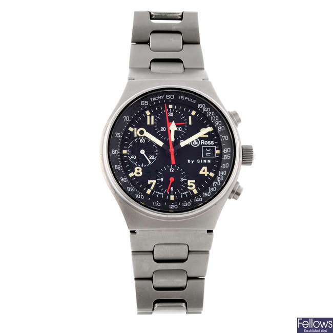 BELL & ROSS - a gentleman's stainless steel Sinn GMT chronograph bracelet watch.