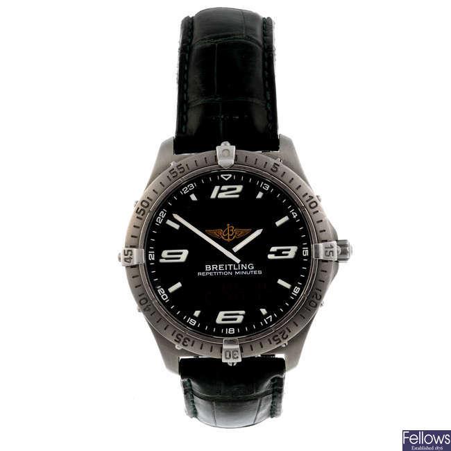 BREITLING - a gentleman's titanium Aerospace chronograph wrist watch.