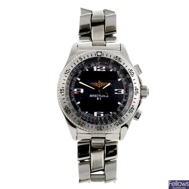 BREITLING - a gentleman's stainless steel Professional B-1 chronograph bracelet watch.