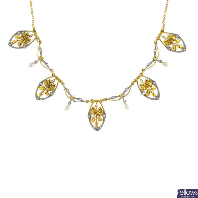 An early 20th century 18ct gold seed pearl and diamond necklace.