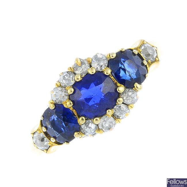 A late Victorian 18ct gold sapphire and diamond dress ring.