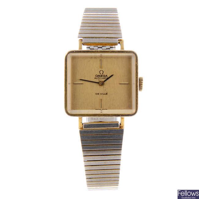 OMEGA - a lady's gold plated De Ville bracelet watch.