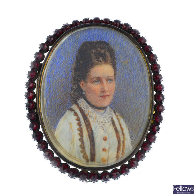 A late Victorian double sided portrait miniature.