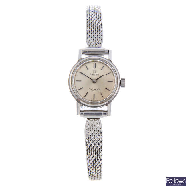 OMEGA - a lady's stainless steel Ladymatic bracelet watch.