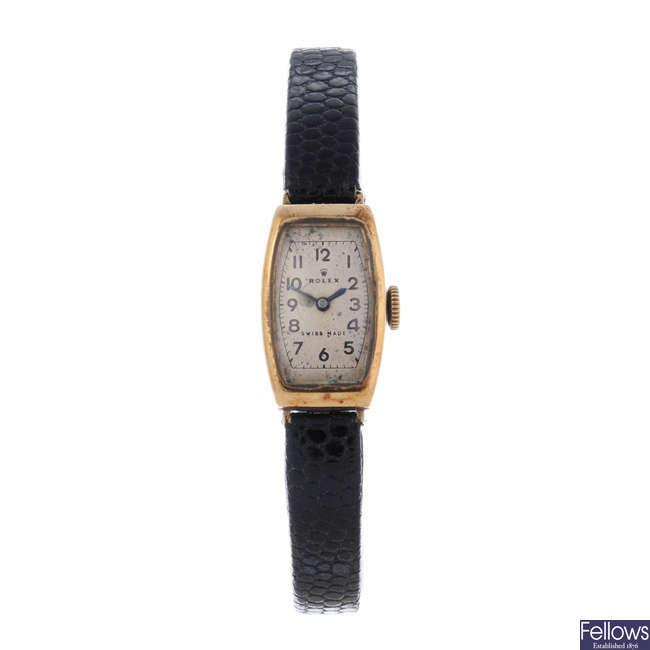 ROLEX - a lady's 9ct yellow gold wrist watch.