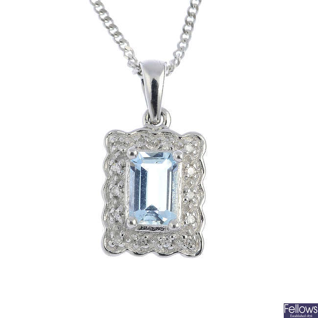 A 9ct gold aquamarine and diamond pendant, with 9ct gold chain.