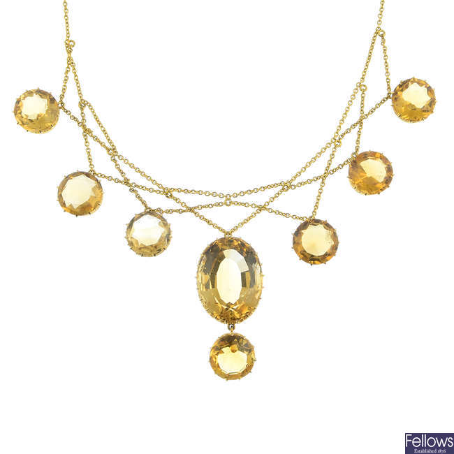 MRS. NEWMAN - a late Victorian 18ct gold citrine necklace.